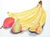 Nature morte ; bananes et poires
