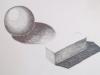 «Sphère et boîte», crayon de graphite, 2012