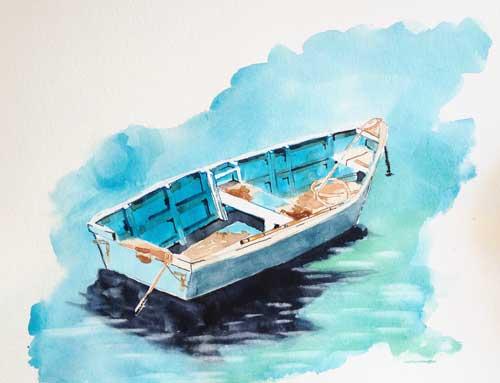 La barque en aquarelle